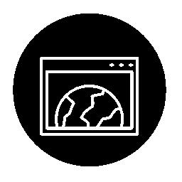 サークル無料アイコンで世界ブラウザーのアウトライン記号