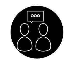 サークル無料アイコン内のアウトライン記号を話す人々