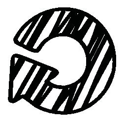 円形スケッチ矢印無料アイコン