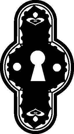 鍵穴飾られた垂直で丸みを帯びた形状無料アイコン