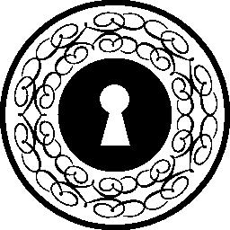 薄い装飾線無料アイコンとキーホール円