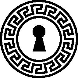 インド デザイン無料のアイコンの飾られた円とキーホール形状