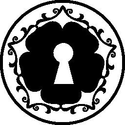 サークル無料のアイコンの中の花の形の鍵穴