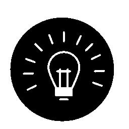 サークル無料アイコン内部アウトライン上の電球