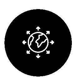 地球儀円無料のアイコンを矢印に囲まれて
