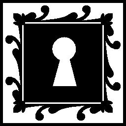 鍵穴に飾られた正方形の形の無料アイコン