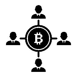 Bitcoin とユーザー接続の無料アイコン