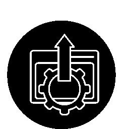 ブラウザーの設定、薄い輪郭円無料アイコンのシンボル