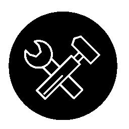 レンチやハンマー ツール薄い円無料アイコン内のアウトライン記号