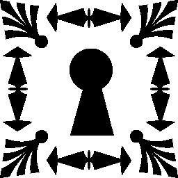 無料アイコンの装飾用図形によって形成される正方形のフレームの鍵穴