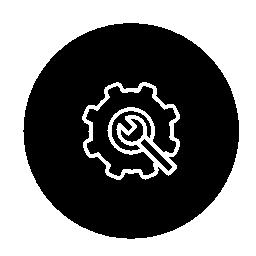 サークル無料アイコンに歯車のアウトライン記号のレンチします。