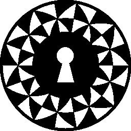 三角形の装飾無料アイコンのサークルで鍵穴