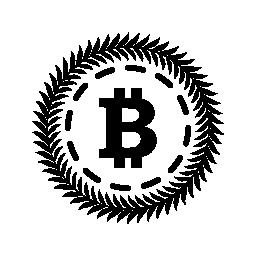 オリーブの円で囲まれた Bitcoin 葉無料アイコン