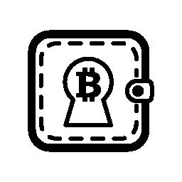 Bitcoin 財布の無料アイコンを鍵穴の形で署名します。