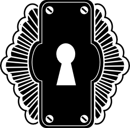 両方の側面の無料アイコンの装飾品で垂直矩形状に鍵穴