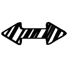 左と右の無料アイコンを指す二重矢印のスケッチ