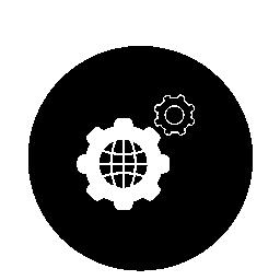 サークル無料アイコン内歯車と世界グリッド