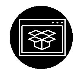 サークル無料アイコン内部ブラウザー バリアントで Dropbox
