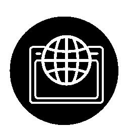 世界グリッド円無料アイコンでブラウザーを開きます