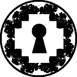 サークル無料アイコン内部ピクセル化された菱形形状の鍵穴
