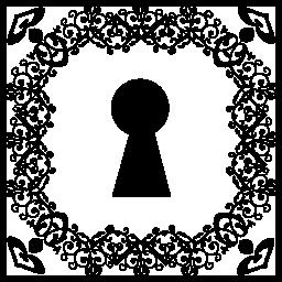 鍵穴形状に飾られたスクエアに無料アイコン