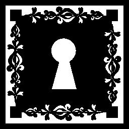 装飾的なボーダー無料アイコンと広場に鍵穴