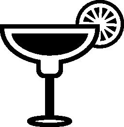 カクテル グラス境界線無料アイコン上のレモンのスライスと