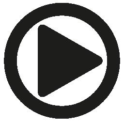 サークル無料アイコンで三角形のボタン シンボルを再生します。