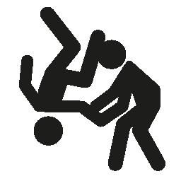 オリンピック柔道カップル シルエット無料アイコン