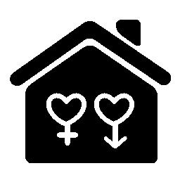 ジェンダーとホーム シンボル サイン心形無料アイコンのバリアント