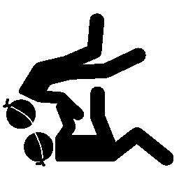 パラリン ピック柔道カップル シルエット無料アイコン