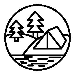 川の無料のアイコンの近くの森でキャンプ
