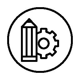 サークル無料アイコンに歯車と、鉛筆でインターフェイス設定シンボルを編集します。