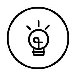 サークル無料アイコンの内側の丸みを帯びた形状の電球
