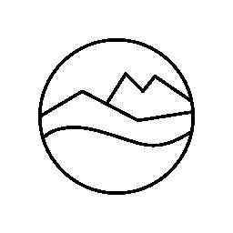 無料のアイコンを円形のキャンバスの風景画