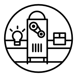 白熱電球とボックスの無料のアイコンを持つマシン