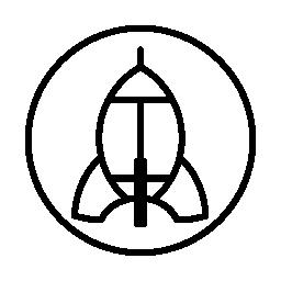 円形の背景無料アイコン上のロケット船概要