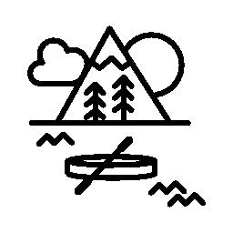 ボート川、山および森林の無料アイコンで自然な場所での休暇