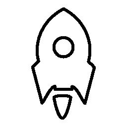 白い円の輪郭の無料アイコンと小さいロケット船バリアント