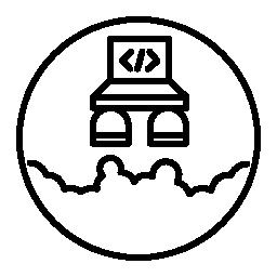 シンボル無料アイコンを起動するコードとノート パソコン