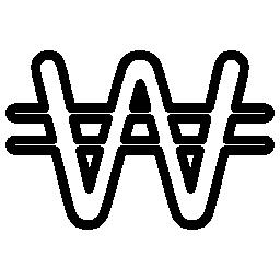 韓国ウォンの通貨シンボル無料アイコン