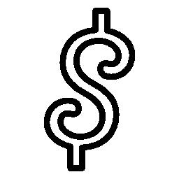 丸みを帯びたドル シンボル無料アイコン