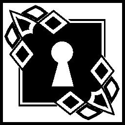 正方形の内部のボーダー設計とキーホール無料アイコン