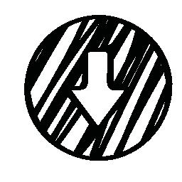 下矢印の輪郭スケッチ サークルの無料アイコン