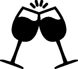 ワイングラス無料アイコンとトースト