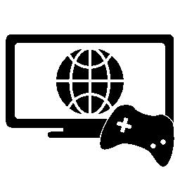 オンライン ゲームのシンボル、モニターとゲーム コントロールの無料アイコン