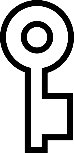 円形キー輪郭形状の無料アイコン
