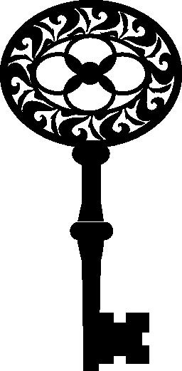 花柄のデザイン無料のアイコンを持つヴィンテージ キーの楕円形