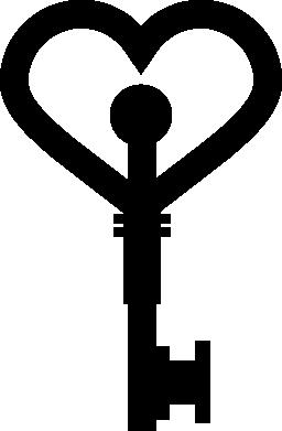 ハート形のキー ツール無料アイコン