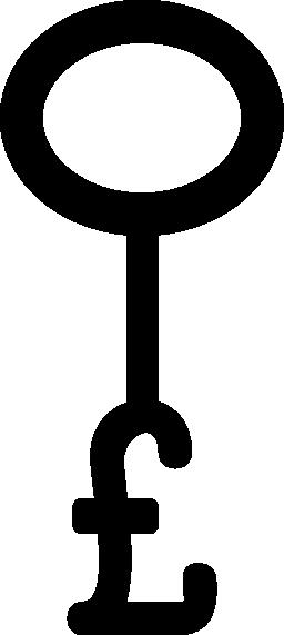 楕円形の無料アイコンとポンド キー形状